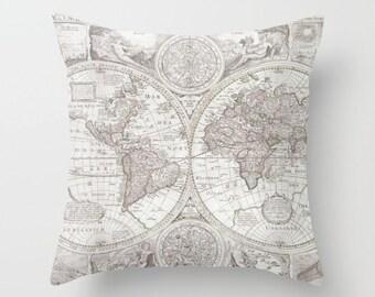 Antique map pillow etsy world map pillow soft gray map of the world throw pillow travel decor modern home apartment dorm wanderlust gumiabroncs Choice Image