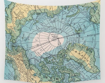 Yellow map tapestry etsy world map tapestry wall hanging arctic map print beautiful map travel decor wall decor atlas den bedroom library blue yellow gumiabroncs Images