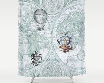 Steampunk Style Shower Curtain