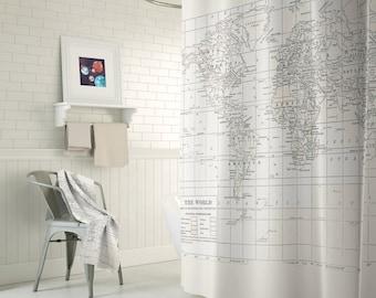 Cream On White World Map Shower Curtain