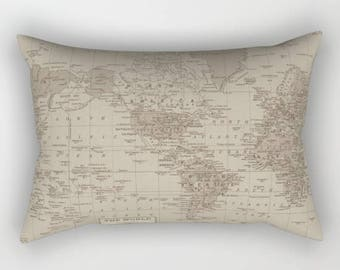 World Map Pillow Case Etsy