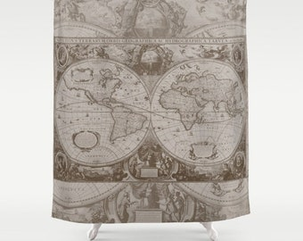 Antique World Map Fabric Shower Curtain