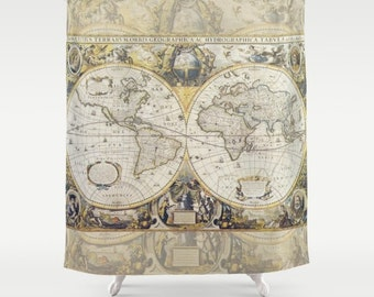 World Map Shower Curtain Brown And Tan Earth Tones Decor