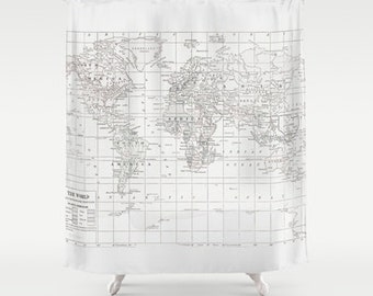 White On World Map Shower Curtain