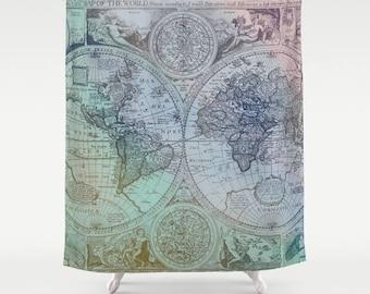 Articoli simili a antico tessuto mappa mondo tenda doccia