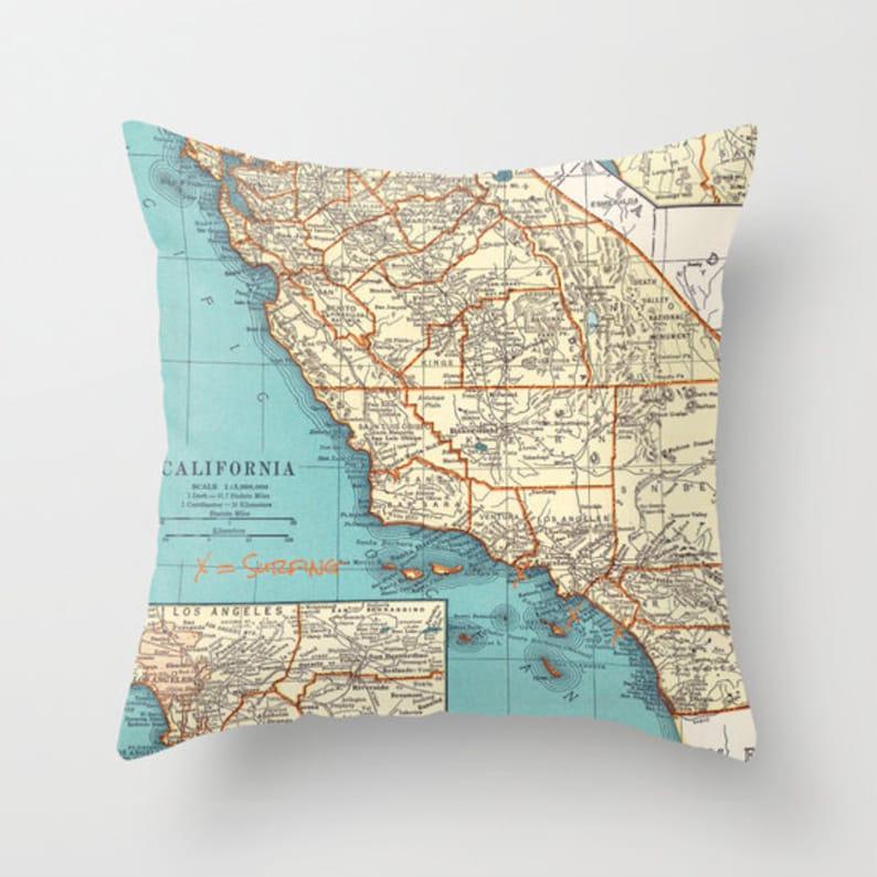 California Surfing Throw Pillow - Southern California Beaches - retro -  Newport, Zuma, San Clemente decor, travel, den, dorm, bedroom