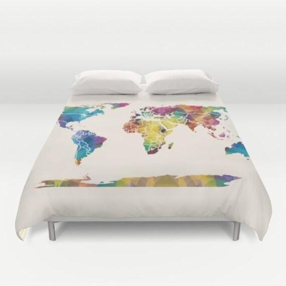 World Map Duvet Cover colorful Geometric Map modern | Etsy