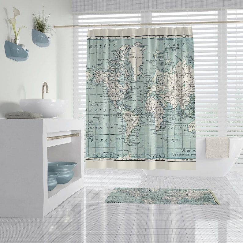 Blue And White Map Shower Curtain Travel Decor World Map