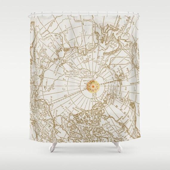 Karte mit Kompass Stoff Duschvorhang geben mir   Etsy