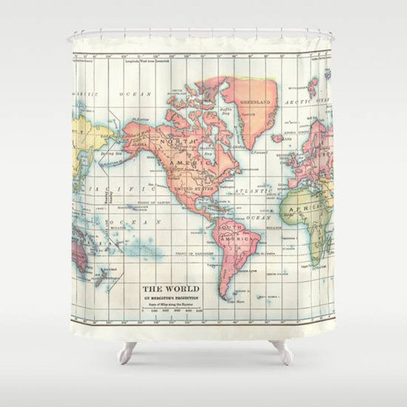 World Map Shower Curtain Historical Vintage Of
