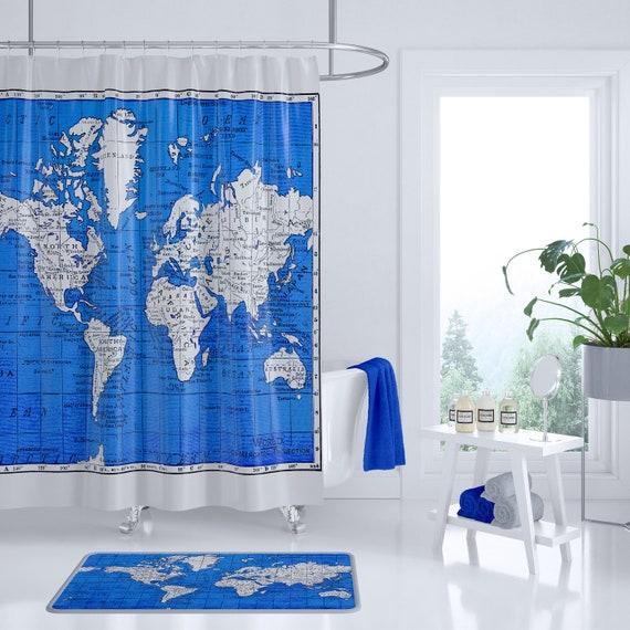 Items similar to cobalt blue world map shower curtain - Cobalt blue bathroom accessories ...