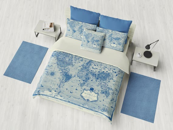Blue world map duvet cover bedding comforter map blue etsy image 0 gumiabroncs Images