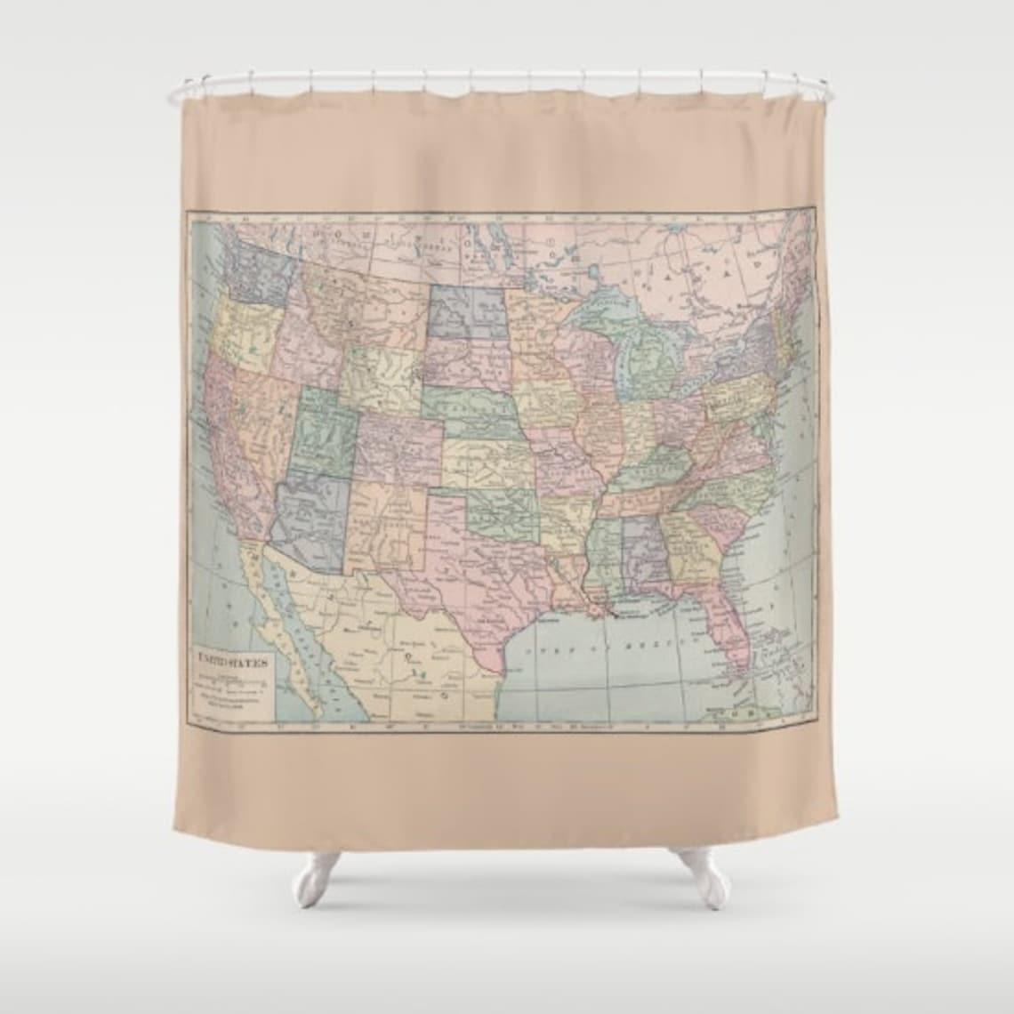 Map Shower Curtain United States Home Decor Bathroom