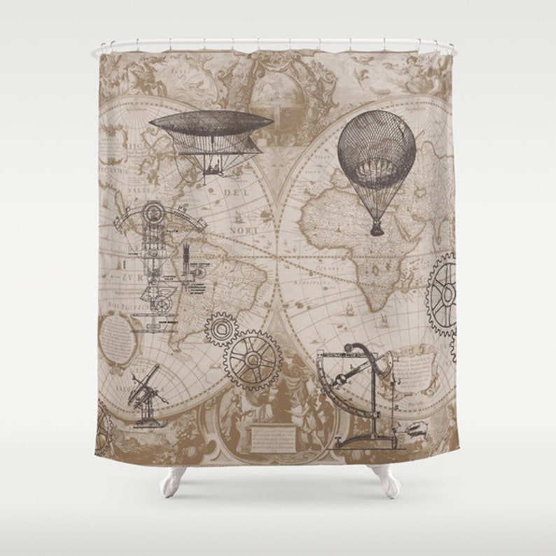 Steampunk Style Shower Curtain Hot Air Balloons Map Etsy