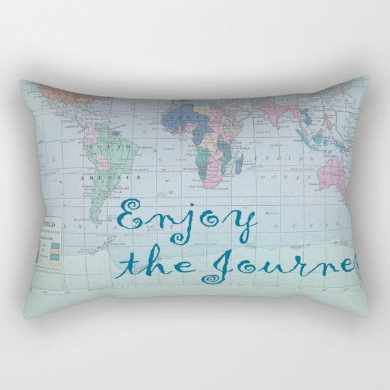 World Map Pillow Case Enjoy The Journey Map Decor Etsy