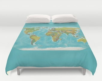 world map duvet cover bed modern map turquoise current world map