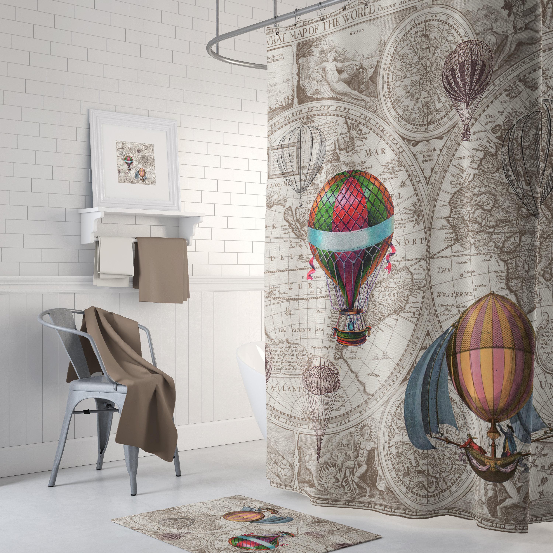 Hot Air Balloon Shower Curtain Antique, Hot Air Balloon Bathroom Decor
