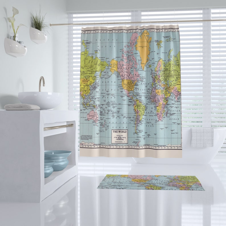World Map Shower Curtain Historical Colorful Vintage