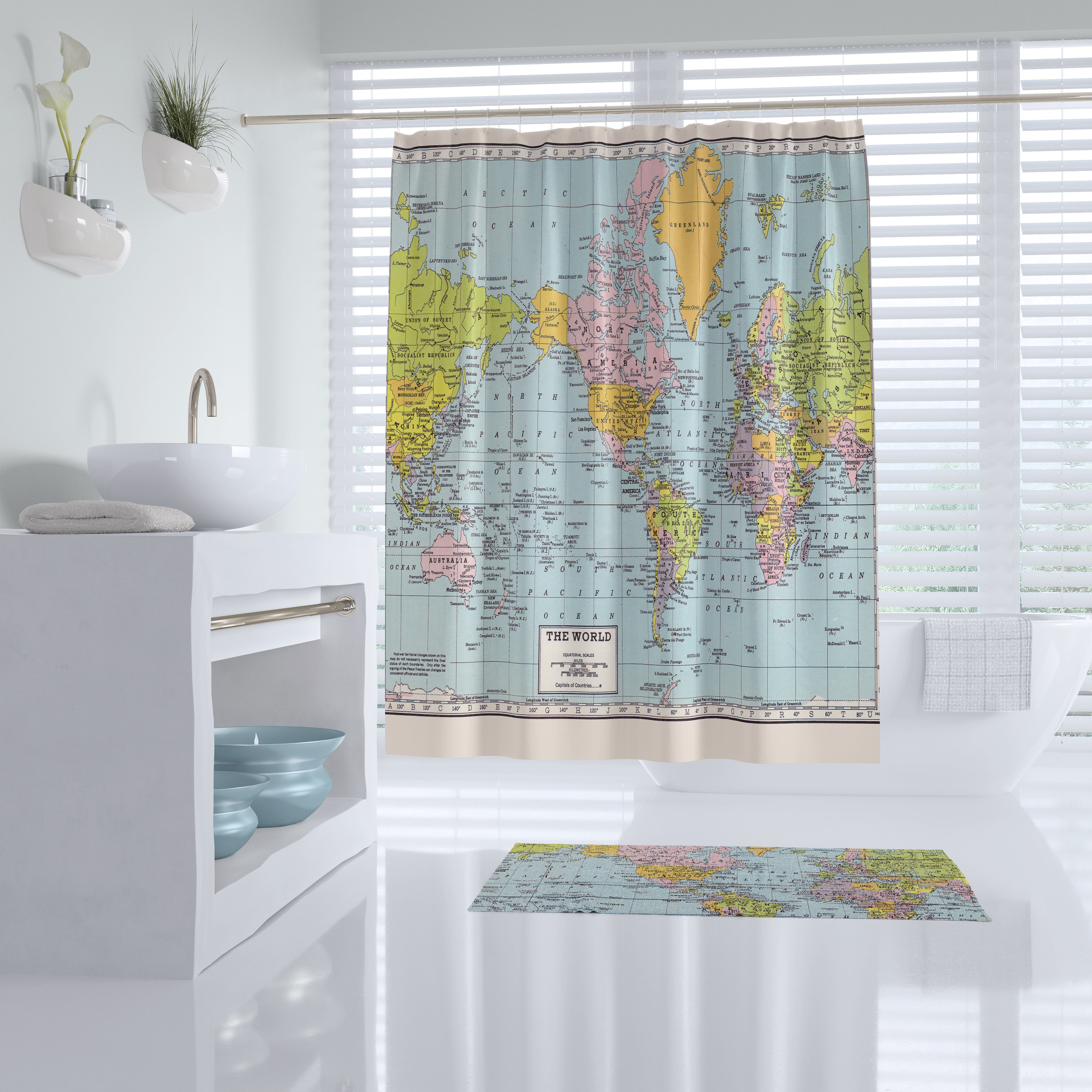 World Map Shower Curtain Historical Colorful Vintage Map Etsy