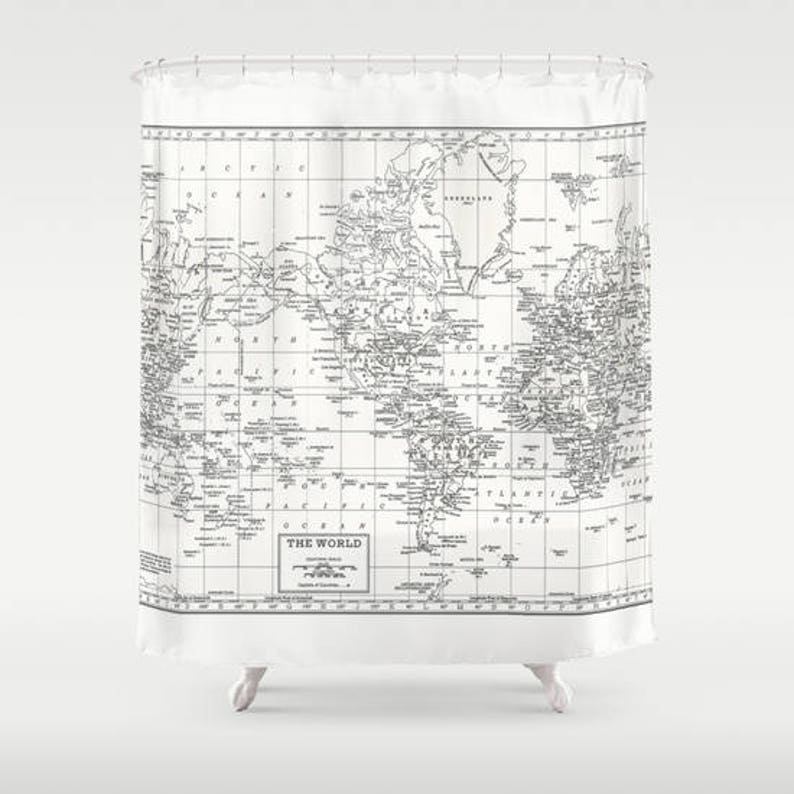 White World Map Shower Curtain Historical And
