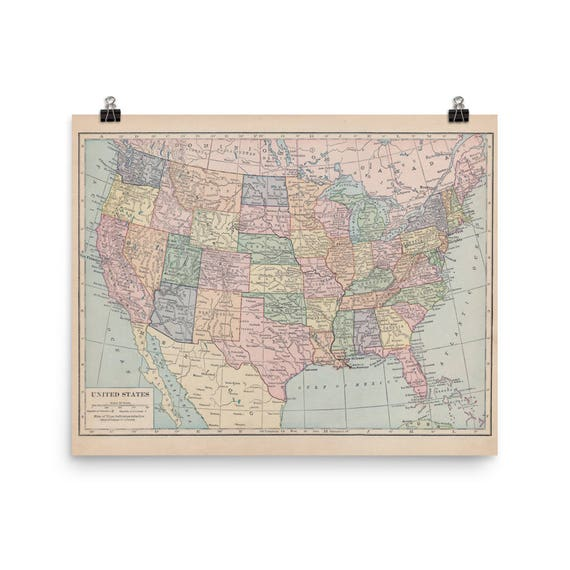 Map Of The United States Of America Print The 48 Contiguous Etsy
