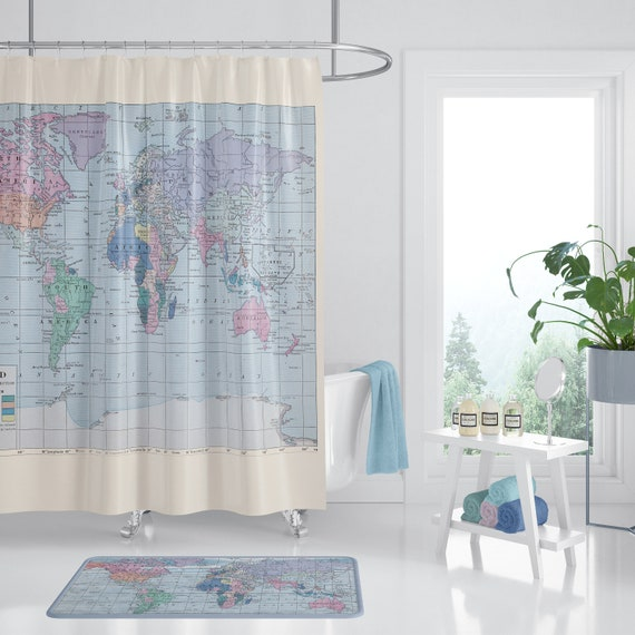 World Map Shower Curtain - travel decor - fabric - Home Decor - Bathroom -  travel, blue, pastel, historical map redecorate