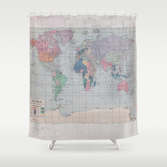 World Map Shower Curtain Historical Fabric