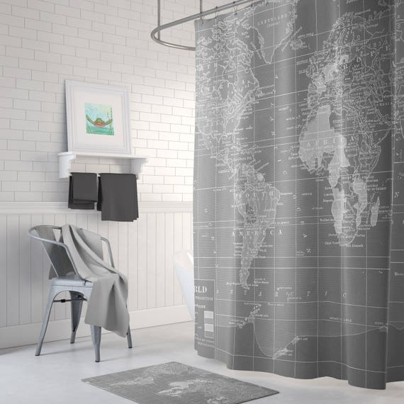 Gray World Map Shower Curtain And White Wanderlust