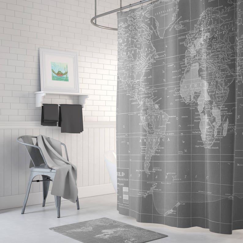 Gray World Map Shower Curtain Gray And White Wanderlust Etsy
