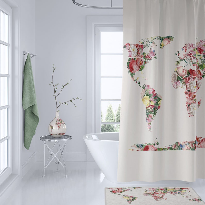 Floral World Map Shower Curtain Retro Bathroom Maps