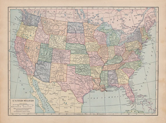 Vintage Map Of The United States Of America Fabric Fat Etsy