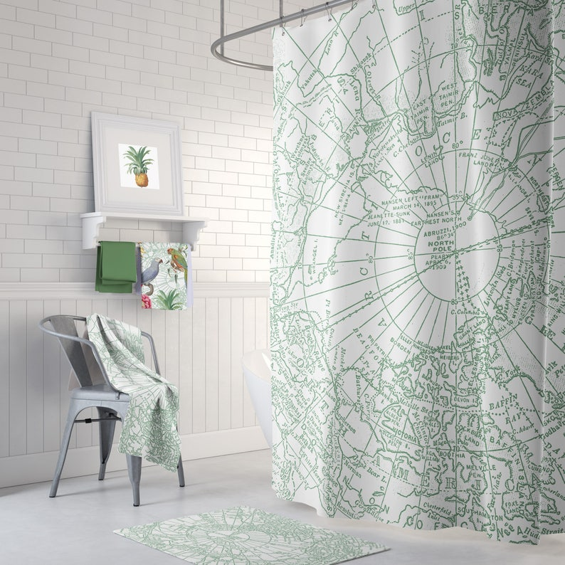 Green Arctic Map Shower Curtain Arctic Circle Canada Etsy