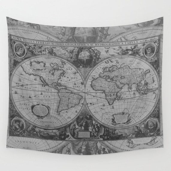 Antique World Map Tapestry.Gray World Map Tapestry Wall Hanging Antique Map Print Etsy