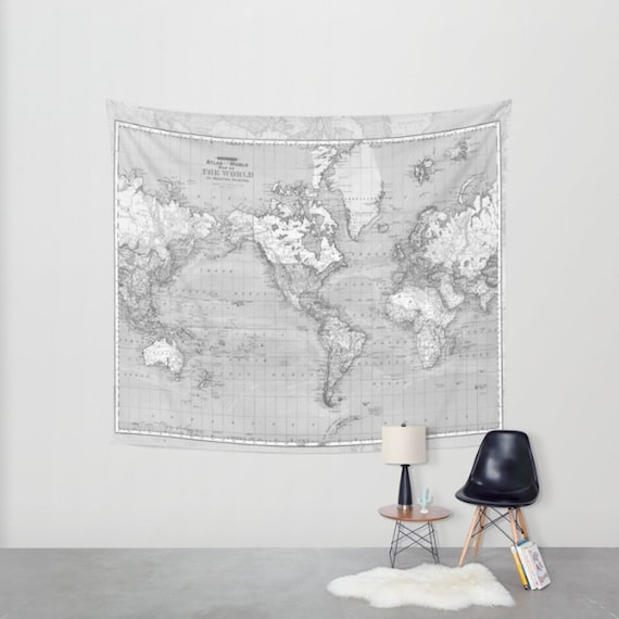 World map tapestry wall hanging vintage map grey and white etsy image 0 gumiabroncs Images