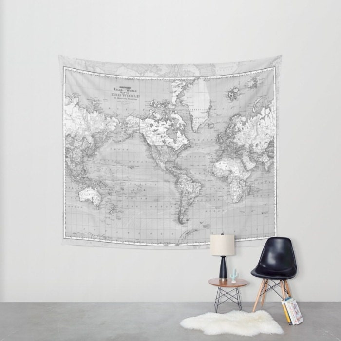 World Map Tapestry Wall Hanging Vintage Map Grey And White Etsy