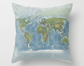 World map pillow etsy popular items for world map pillow gumiabroncs Choice Image