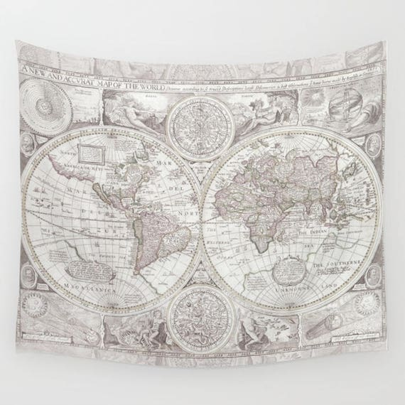 Antique World Map Tapestry.Olde World Map Tapestry Wall Hanging Dorm Room Decor Etsy