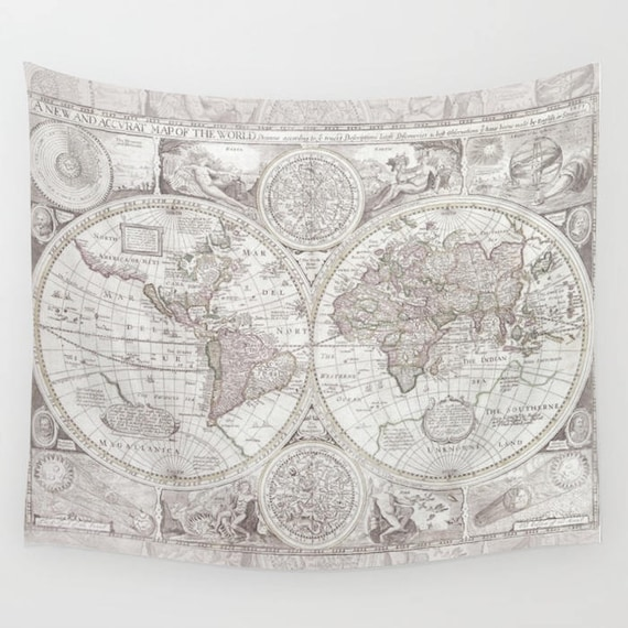 Olde world map tapestry wall hanging dorm room decor etsy image 0 gumiabroncs Images