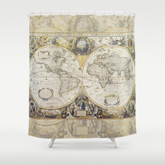 Antique World Map Fabric Shower Curtain Vintage Travel