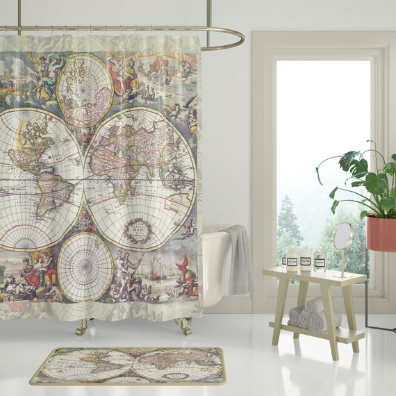 Antique world map fabric shower curtain travel decor gumiabroncs Image collections