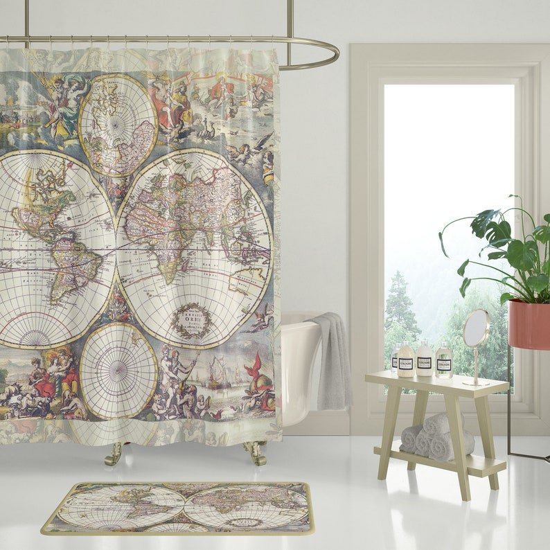 Antique World Map Fabric Shower Curtain Travel Decor