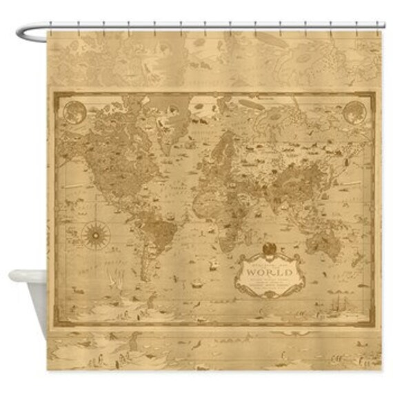 World Mercator Map Shower Curtain Historical Antique Image