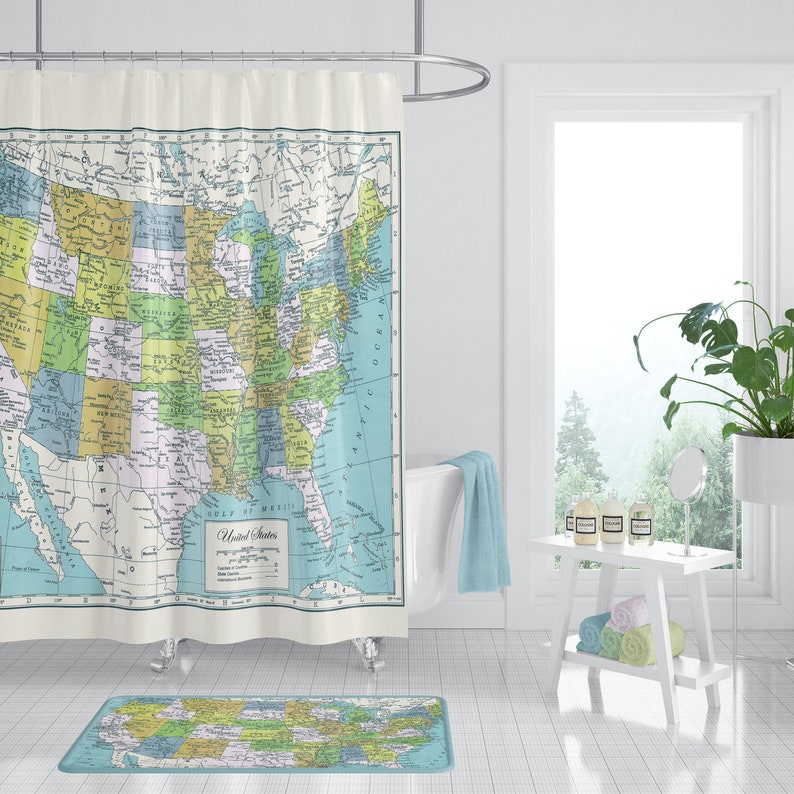United States Map Shower Curtain USA Fabric Travel