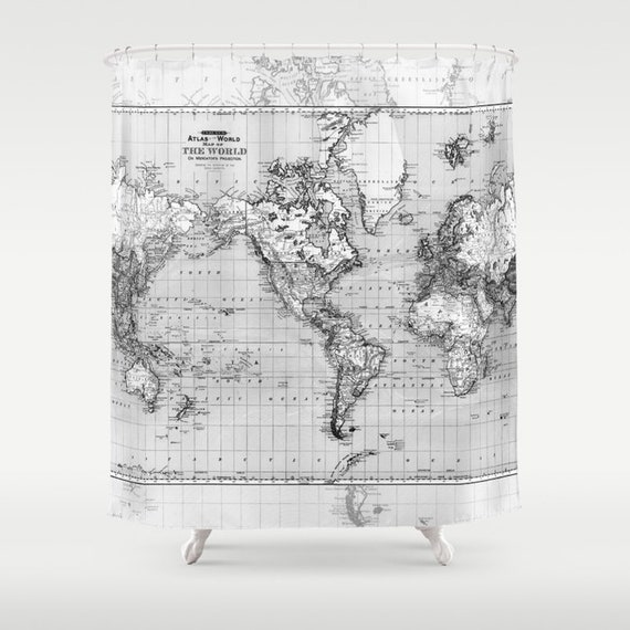 Black and gray World Map Shower Curtain - fabric bathroom - marbled
