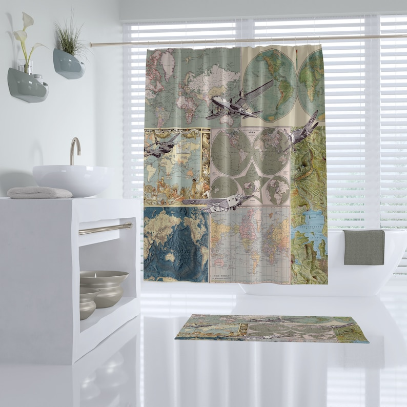 Maps And Planes Shower Curtain Map Collage With Vintage