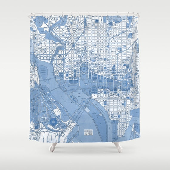 Washington DC Vintage map shower curtain - Street map of the Capitol  Potomac, historical monuments, the white house, travel decor,