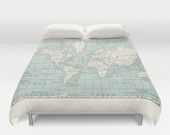 world map duvet cover bed bedroom travel decor cozy soft blue