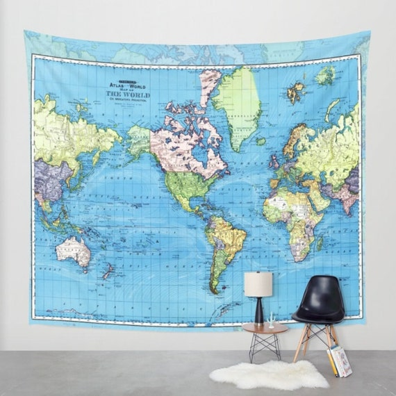 World Map Tapestry Wall Hanging Vintage Mercator Map Blue Etsy