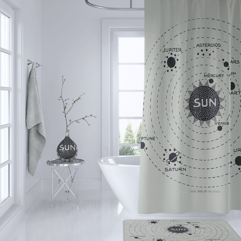 Solar System Map Shower Curtain Vintage Astronomy Home
