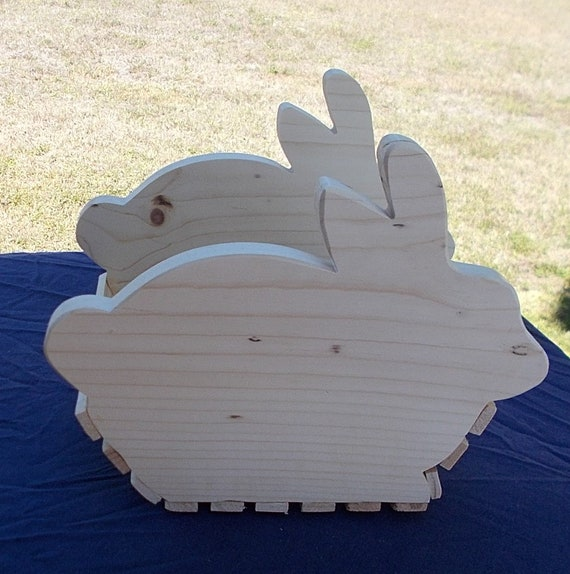 Wooden Bunny Basket/Planter by the Old Coot